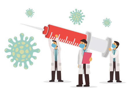 Medical concept of doctors attacking the Coronavirus with syringe and vaccine. Flat vector illustration isolated on white background.