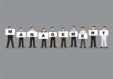 Illustration of business man and woman holding white board cards title management. Full length on grey background. Portray a concept of teamwork. Vector Illustratie