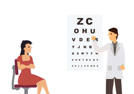 Male ophthalmology doctor in uniform pointing to an eye test chart with a young woman. Medicine, optometrist or healthcare concept. Vector flat style cartoon illustration isolated on white background.