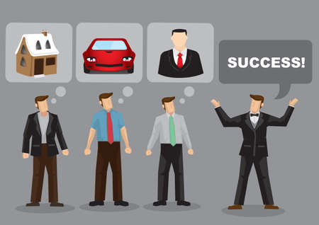 Cartoon man asking about success and everyone have different defination. Vector illustration.