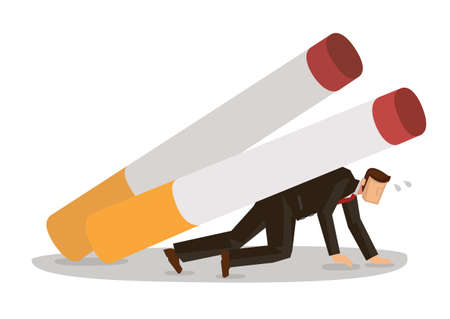 Smoker man character carry crash by giant cigarettes. Smoking tobacco problem concept. Vector cartoon illustration