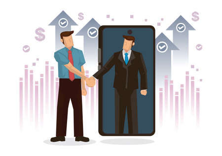 Businessman handshake online on mobile phone. Concept of partnership success, closing of transaction, opening of startup, corporate greeting or success investment. Flat cartoon character vector illustration.
