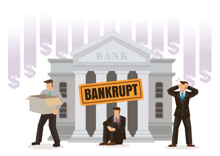 Bank Bankruptcy concept. Sinking banking process in financial crisis. Economical problem, investment failure or budget collapse. Flat Vector illustration.