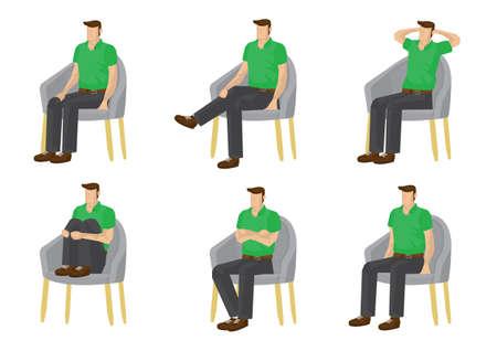 Set of full length man in various sitting positions isolated on white background. Vector illustration design. Illustration