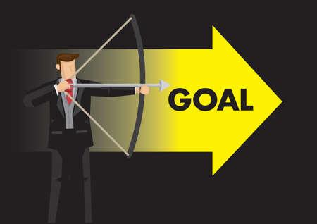 Businessman archer aiming with a arrow. Concept of goal setting. raise motivation, goal achievement. Vector illustration.