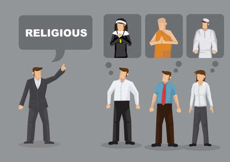 Different people have ideas responding to word Religious. Cartoon vector illustration on concept for co-existence in diversity for different religions.