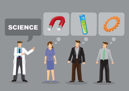 Cartoon man said abour science and others are unsure what he is refering to. Vector illustration.