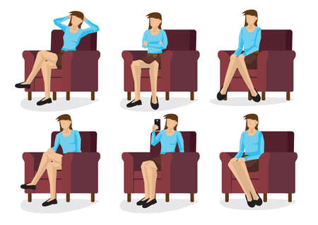 Set of full length casual woman in various sitting positions isolated on white background. Vector illustration design.