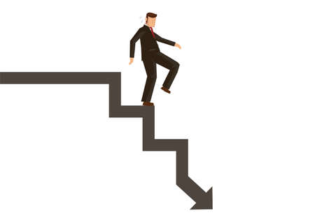 Depressed business man walking down falling arrow steps. Concept of fall and depreciation. Flat cartoon character vector illustration.