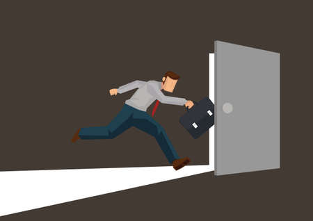 Businessman running towards a open light door. Concept of leadership, courage or looking for opportunity;. Business flat cartoon character vector illustration. Ilustrace
