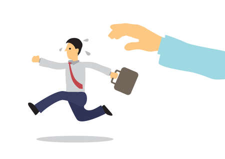 Human hand catching of businessman running away. Vector illustration. 免版税图像 - 157840908