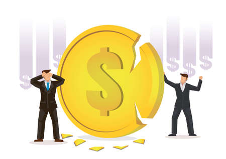 Businessmen worried about a broken coin. Concept of Financial Crisis or drop in value. Flat Vector Illustration.