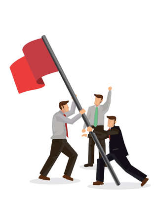 Businessmen pushing up a red flag. Concept of teamwork, growth, goal achievement or corporate success. Flat cartoon character vector illustration isoalted on a white background.