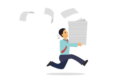 Businessman run holding a lot of documents in his hands. Concept of busy businessman. Vector illustration.