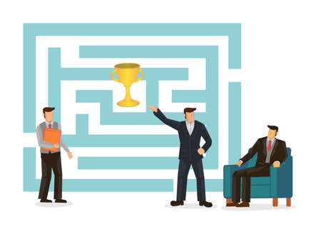 Business maze challenge. Business team working together looking at labyrinth to get awards. Cartoon character vector illustration.