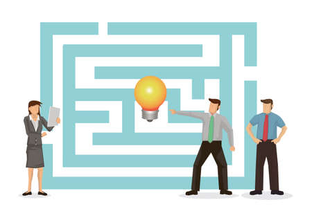 Business maze challenge. Business team working together looking at labyrinth to get creative idea. Cartoon character vector illustration. 向量圖像