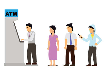 Businessman queuing for ATM machine to withdraw cash. Flat cartoon character vector illustration on a white background.