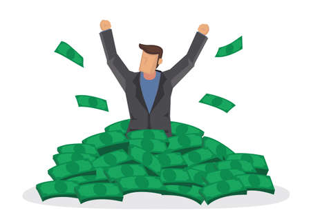 Happy rich man with big heap of stacked money. Billionaire business man or smiling on a huge cash pile. Business success. Flat isolated vector illustration.