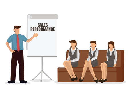 Business coach speaker giving presentation. Mentor leader explain sales performance strategy at team meeting workshop. Flat vector illustration.