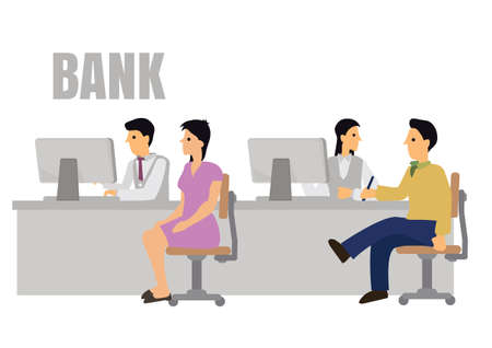 Bank office interior with professional banking service staffs and clients. Concept of banking credit, deposit consult management and counter payment. Flat cartoon character vector illustration.