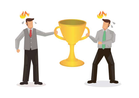 Competition and rivalry between two businessmen concept design. Fighting over a golden trophy cup. Flat isolated cartoon; vector illustration 矢量图像