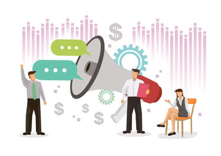 Business people with gaint megaphone. Concept of business promotion, campaign, advertising, alerting or communication. Flat Cartoon Character Vector illustration. Çizim