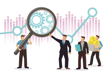 Businessmen using magnifying glass to study the the stock market. Market corporate analytics. Flat vector illustration. Иллюстрация