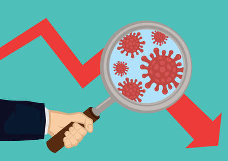 Hand holding a magnifying glass looking carefully at virus on a down trending market. Global pneumonia virus on financial market. Vector illustration