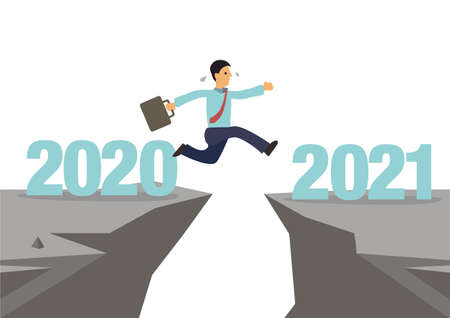 Businessman jumps to next cliff. New hope for business recovery with high risk. Changing year from 2020 to 2021 calendar. Vector illustration.