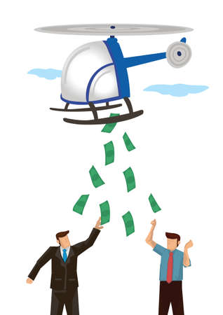 Helicopter dropping money in sky. Businessmen grabbing money. Finance, economy and monetary policy concept. Vector illustration