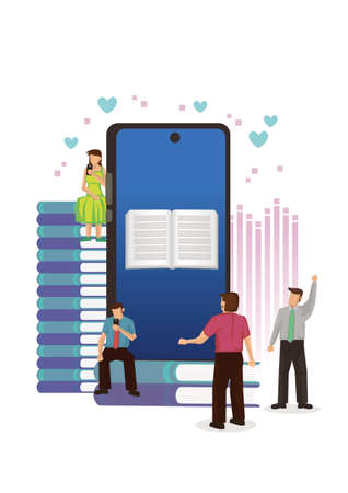 People  with smartphone with digital book. Concept of media book library, E-book, reading an ebook, E-learning online or archive of books. Flat character characters vector illustration. Ilustração