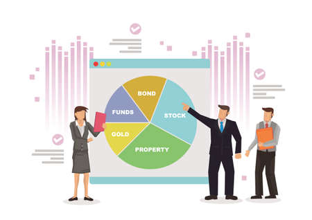 Businessmen and office workers study infographic pie graph, analyze the business investment data. Flat vector Illustration isolated.