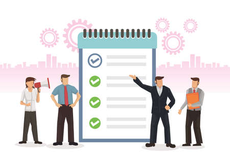 Business team with a task list board. Concept of planning, task agenda, schedule, teamwork and startup. Flat cartoon character vector illustration isolated against a white background.