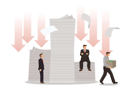 Businessmen with piles of debt. Concept of debts, bankruptcy or corporate restructuring. Flat vector illustration