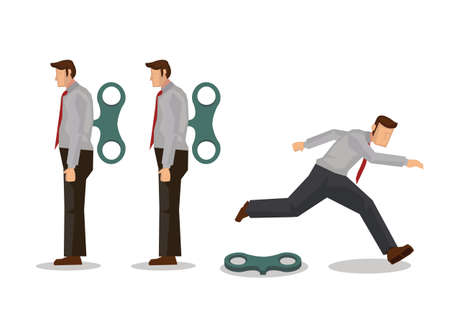 Businessman running away after his winder released. Business concept of free will or freedom. Flat vector illustration.