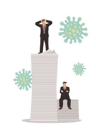 Business merchants afraid of the novel coronavirus pneumonia infection on top of corporate document. Vector illustration.