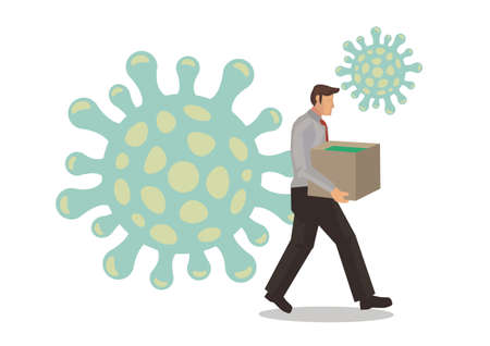 Unhappy business man packing and going out with cardboard. Concept of business health care problem. Flat vector illustration.