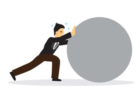 Businessman pushing a challenging heavy rock. Challenge, strength and difficult task concept. Vector illustration.