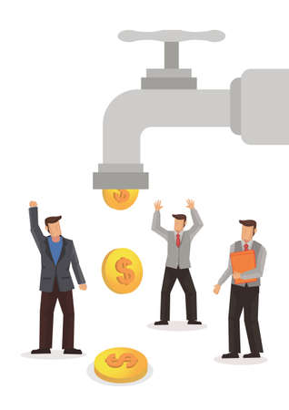 Business concept of businessmen under a water tap flows with gold coins. Vector illustration.