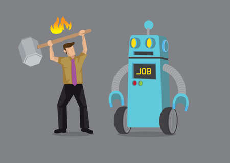 Office worker attack robot who replace his job. Depicts automation, future job market and artificial intelligence. Concept of Human vs Robot. Isolated vector cartoon illustration.