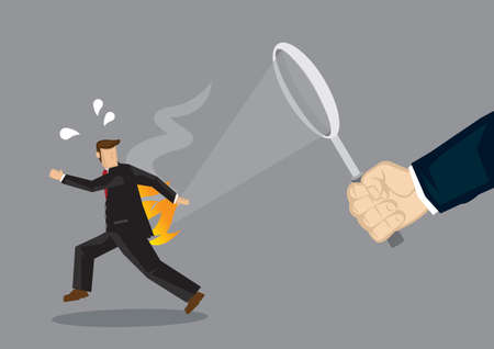 A employee get burn by his boss. Concept of abusive working environment. Vector illustration.