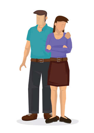 Man's sexually harassing female friend by touching her shoulder. Flat style vector illustration.