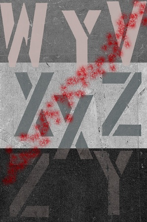 Grey background with stripe and letters with red splatter. Stock Photo - 11621388