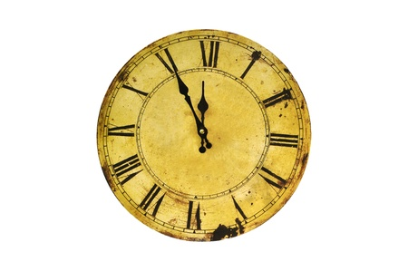 Five minutes to twelve on isolated vintage clock.