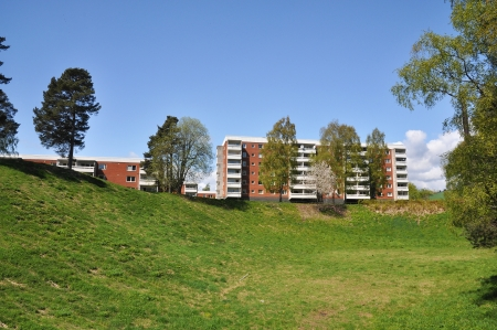 Apartment building, typical architecture in a swedish suburb from the 1970s.
