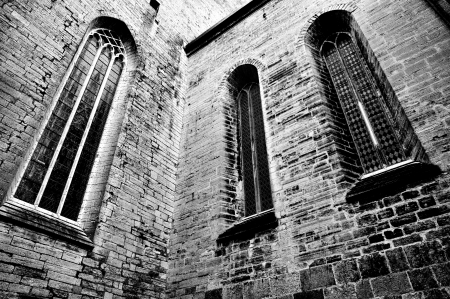 Powerful church windows in black and white Stock Photo