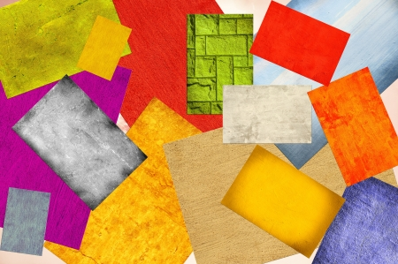 Background textures on top of each other in colourful squares Stock Photo - 14414322