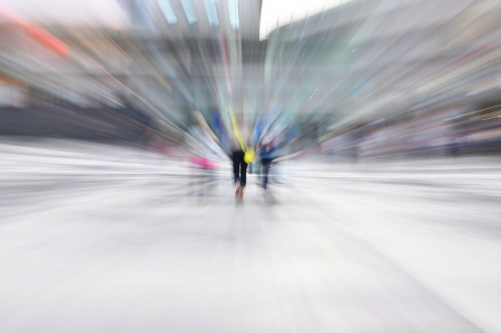 Young city life in motion blur. photo
