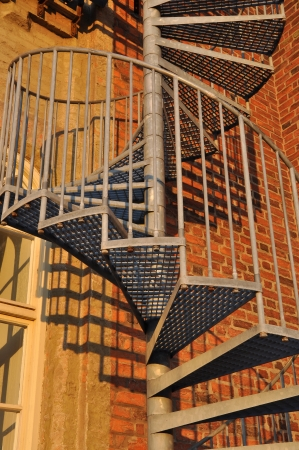 Close up of a fire escape on the Red tower in Vadstena, Sweden.