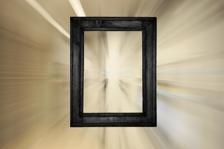 Black old wooden frame on bright futuristic motion background Stock Photo - 14658087